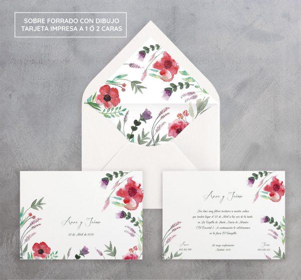 Invitación de boda Amapolas