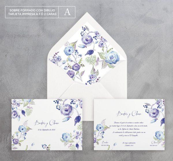 Invitación de boda Brotes Azul