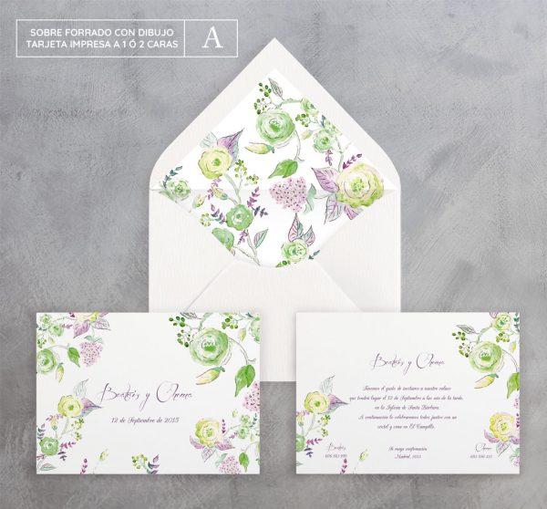 Invitación de boda Brotes Verde