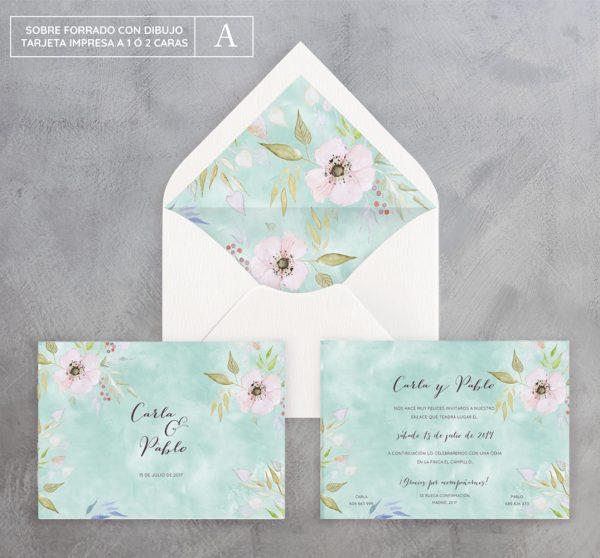 Invitación de boda Fleur d'amor bleu