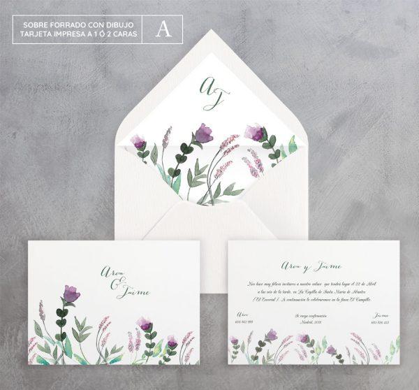 Invitación de boda Flores Silvestres