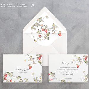 Invitación de boda Fresas