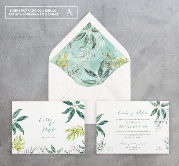 Invitación de boda Tropical Color
