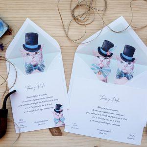 Invitación de boda Gatos Vintaje