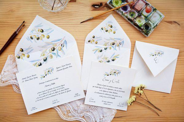 Invitación de boda Olivo