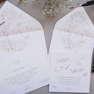 Invitación de boda Tree and Butterfly