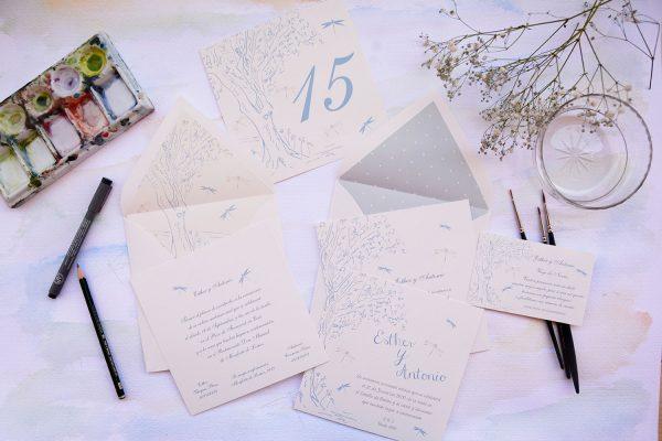 Invitación de boda Tree and Drawonfly