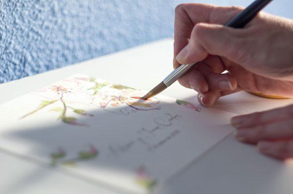 invitaciones pintadas a mano